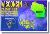 Wisconsin Geography - NEW U.S Travel Poster (tr556)