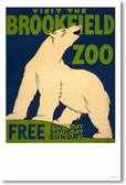 Visit the Brookfield Zoo - Polar Bear - Vintage Poster