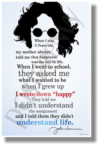 "I Wrote Down ""Happy"" 2 - John Lennon - NEW Famous Person Poster (fp326)"
