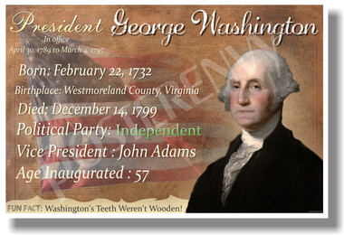 Presidential Series - U.S. President George Washington - New Social Studies Poster (fp335) PosterEnvy