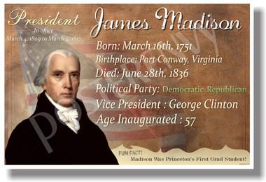 Presidential Series - U.S. President James Madison - New Social Studies Poster (fp339) PosterEnvy