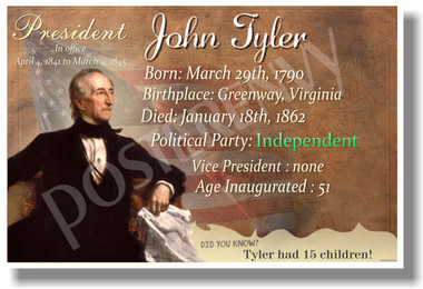 Presidential Series - U.S. President John Tyler - New Social Studies Poster (fp350) American History PosterEnvy