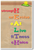 HEALTH - Strength, Exercise, Eat, Live, Fitness, Choice - NEW Health and Nutrition Diet Food Poster (he045) PosterEnvy