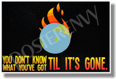 You Don't Know What You've Got Til It's Gone - NEW Classroom Motivational Poster (cm1033) PosterEnvy Earth Fire Global Warming Climate Change Carbon Footprint