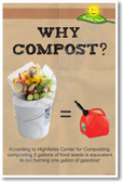 Why Compost? Save Gasoline! NEW Healthy Planet Ecology Recycle Poster (he057) PosterEnvy Environment
