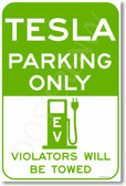 Tesla Parking Only green - NEW Electric Vehicle EV Poster (hu273) Model S Model X Roadster PosterEnvy Elon Musk