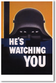 He's Watching You - Vintage 1942 Poster