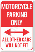 Motorcycle Parking Only - All Other Cars Will Not Fit - NEW Funny Classroom Poster (hu289) Novelty Gift PosterEnvy