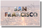 San Francisco California NEW U.S State Travel Poster (tr579) City Aerial View Gift PosterEnvy