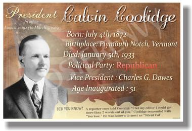 Presidential Series - U.S. President Calvin Coolidge - New Social Studies Poster (fp418) American History PosterEnvy