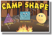 Camp Shapes - Triangle - Rectangle - Circle - NEW Geometry Classroom Poster (ms278) Elementary School PosterEnvy