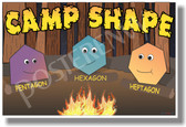 Camp Shapes - Pentagon - Hexagon - Heptagon - NEW Geometry Classroom Poster (ms279) Elementary Math PosterEnvy