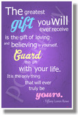 The Greatest Gift You Will Ever Receive Positive Attitude Motivational Classroom Poster (cm1045) Believe In Yourself PosterEnvy