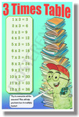 3 Times Table - NEW Math Classroom Poster (ms283) Elementary Math PosterEnvy
