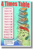 4 Times Table - NEW Math Classroom Poster (ms284) Elementary Math PosterEnvy