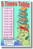 5 Times Table - NEW Math Classroom Poster (ms285) Elementary Math PosterEnvy