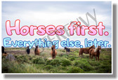 Horses First Everything Else Later (pink and blue) - NEW animal POSTER (an229) PosterEnvy