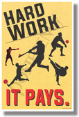 Hard Work - It PAYS (Sports) - Motivational Classroom Poster (cm1048) PosterEnvy Success Life