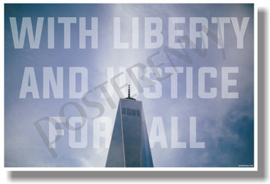 With Liberty And Justice For All - NEW New York City Travel Freedom Tower POSTER (hu322) PosterEnvy NYC USA Patriotic