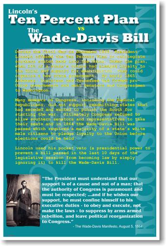 Reconstruction President Lincoln's Ten Percent 10% Plan vs Radical Republicans Wade-Davis Bill U.S. Civil War History NEW POSTER (ss161)