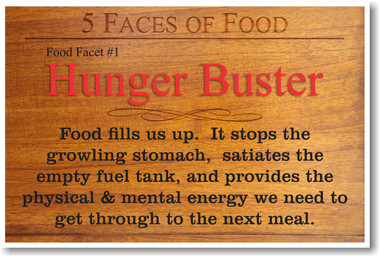 5 Faces of Food Hunger Buster NEW Healthy Foods and Nutrition health Poster (he060)