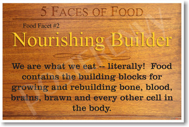 5 Faces of Food Nourishing Builder NEW Healthy Foods and Nutrition health Poster (he061)