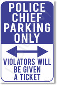 Police Chief Parking Violators Will Be Given a Ticket NEW Funny cop 5-0 POSTER (hu332)