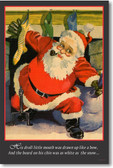 Santa Claus coming down the chimney at christmas - vintage reproduction PosterEnvy poster