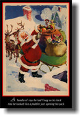 Twas The Night Before Christmas - Santa Claus Opening His Pack of Toys - Vintage Christmas Holiday Poster