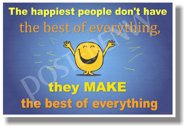 The Happiest People...(blue) - NEW Classroom Motivational Poster (cm1093)