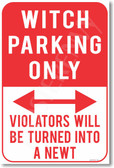 Witch Parking Only Violators Will Be Turned Into a Newt NEW Humor Joke Poster (hu369) Harry Potter Ron Weasley Hermione Granger JK Rowling auto gift