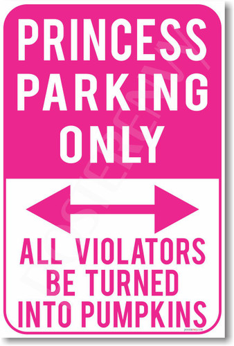 Princess Parking Only Violators Will Be Turned Into Pumpkins NEW Humor Joke Poster (hu371)