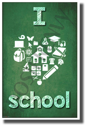 I Heart School - chalk - New Motivational Poster (cm1133)