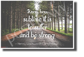 Know How Sublime It Is To Suffer And Be Strong - Henry Wadsworth Longfellow - New Motivational Poster (cm1151)