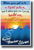 When You Get Into a Tight Place ... Hold On - Harriet Beecher Stowe - NEW Classroom Motivational Poster (cm1161) sunrise sunset waves sky