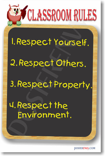 Classroom Rules #14 NEW Classroom Motivational Poster (cm1173) respect yourself environment property others posterenvy  students teachers sign