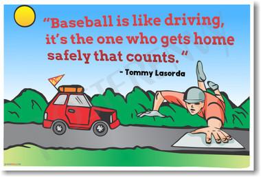 Baseball is Like Driving Tommy Lasorda NEW Sports Humor POSTER (hu397) Dodgers Manager PosterEnvy Joke Funny Humor