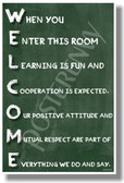 Welcome When You Enter This Room chalkboard New Classroom Motivational Poster (cm1185) learning teachers students friendly