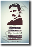 If your hate could be turned into electricity, it would light up the whole world inventor serbian Nikola Tesla NEW Motivational Poster (fp455) elon musk model s model x model 3 spacex genius