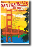Travel to San Francisco The City By The Bay NEW Travel Art Poster (tr592) Golden Gate Bridge California vintage art sunset skyline city usa