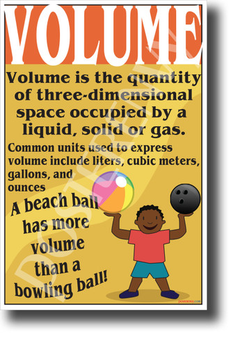 VOLUME definition explain New Science Classroom Poster (ms308) bowling ball beach ball liquid gas solid measurement school student teacher