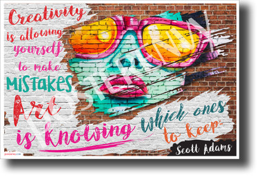 """Creativity is allowing yourself to make mistakes..."" - Scott Adams - Quote Poster (cm1209) NEW Classroom Motivational Poster PosterEnvy Poster"