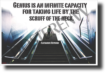 """""""Genius is an infinite capacity..."""" - Katharine Hepburn - Quote Poster (1210) NEW Classroom Motivational Poster PosterEnvy Poster"""