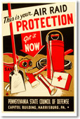 air raid protection wpa propaganda ww2 world war 2 government united states america poster posterenvy