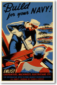 Build for your NAVY! - NEW Vintage WW2 Poster