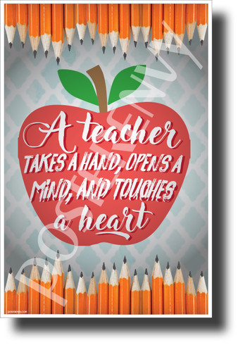 A Teacher Opens A Mind and Touches A Heart - NEW Classroom Motivational Poster (cm1234) PosterEnvy Poster