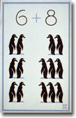 6 + 8 Penguins Math WPA Vintage Art Reproduction Poster