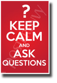 Keep Calm and Ask Questions - NEW Motivational Classroom POSTER (cm1276)