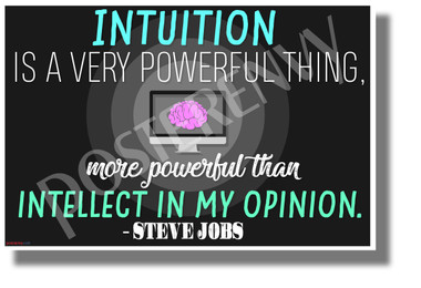 Intuition is a Very Powerful Thing - Steve Jobs - NEW Classroom Motivational POSTER
