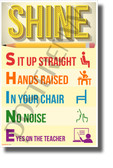 SHINE - NEW Classroom Motivational Acronym Behavior POSTER